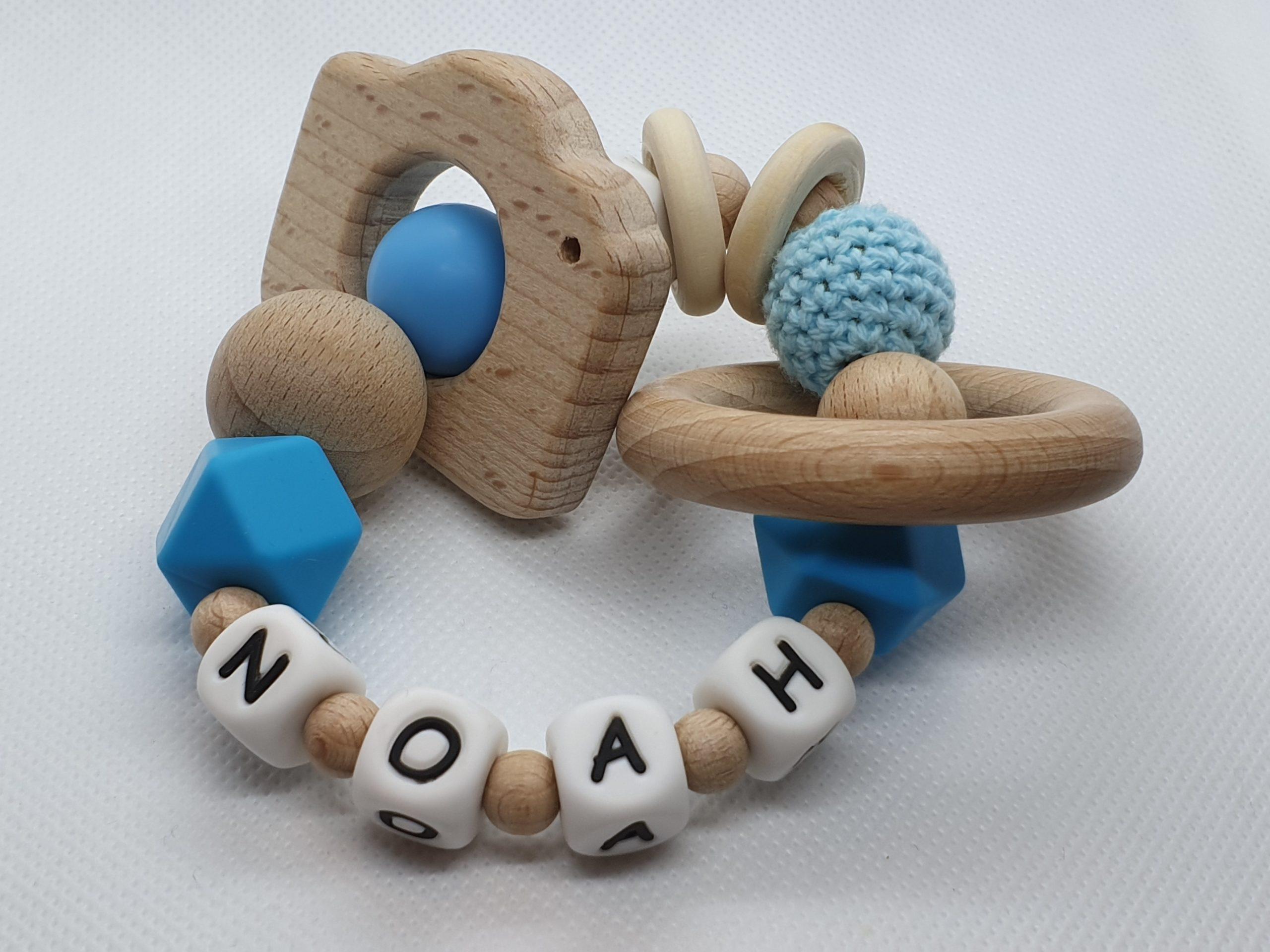 """Bijtring met naam-Bijtring naam-design """"Noah""""-Wood & Fun"""