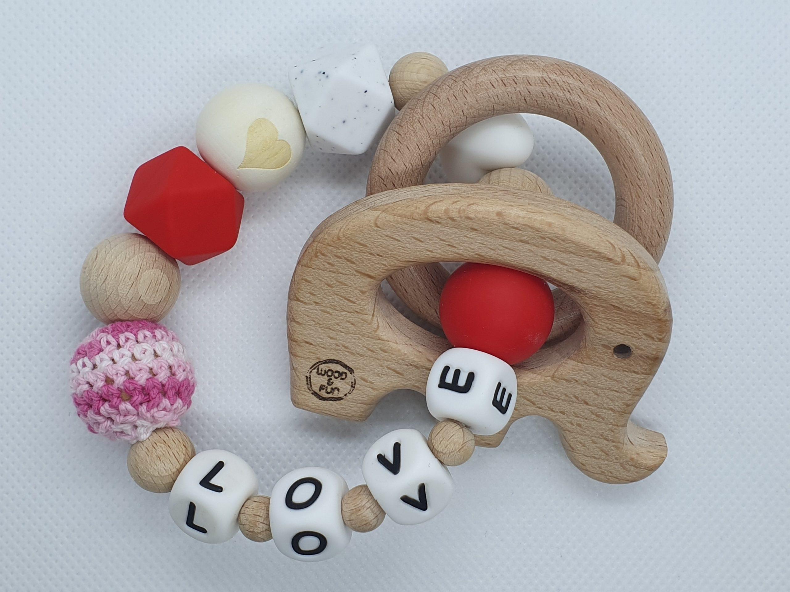 Bijtring met naam Love Wood & Fun