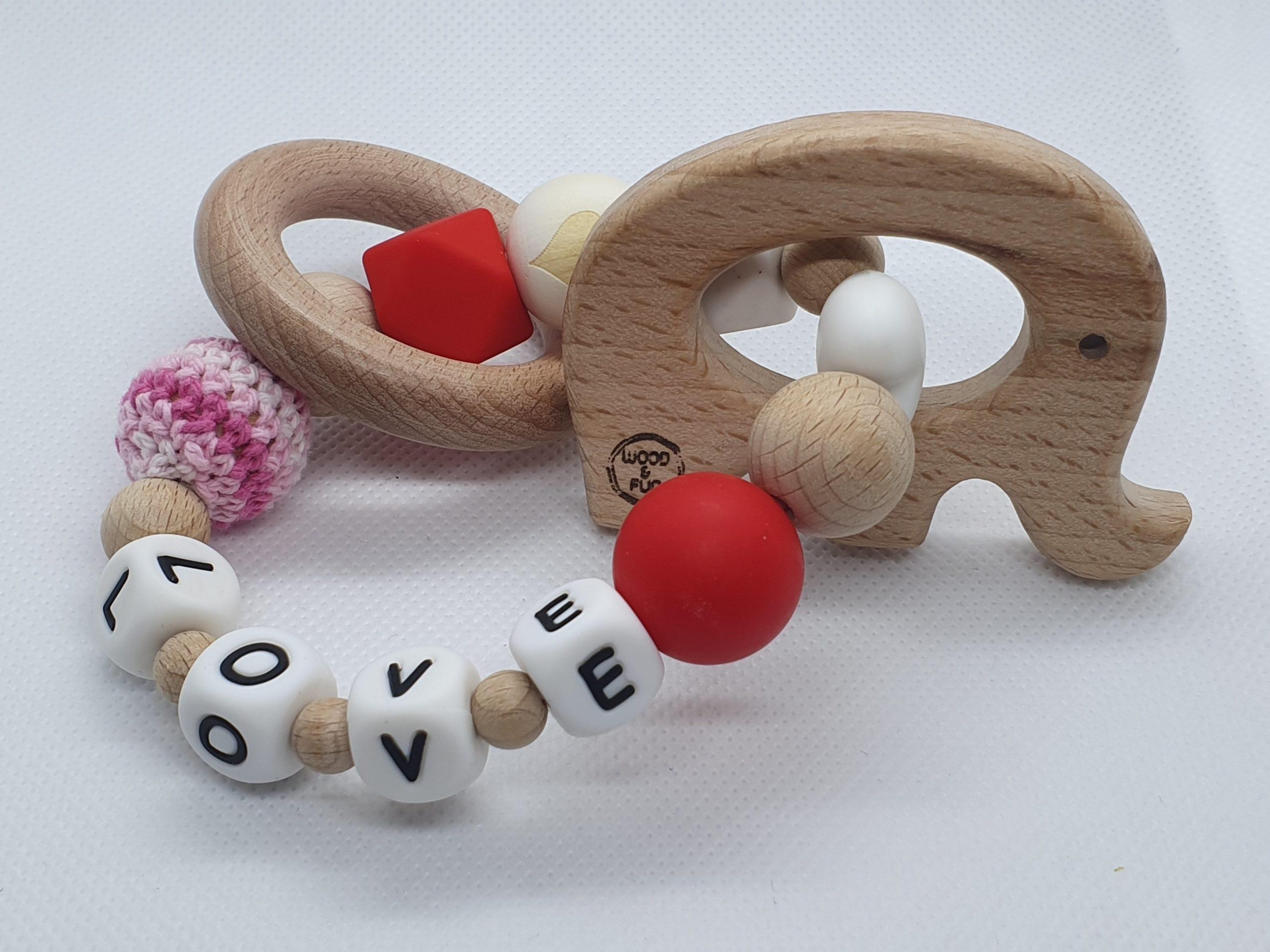 """Bijtring met naam-Bijtring naam-design """"Love""""-Wood & Fun"""