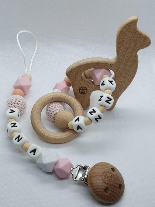 Babycadeau met naam - Gepersonaliseerd kraamcadeau - baby gift set Anna- Wood & Fun