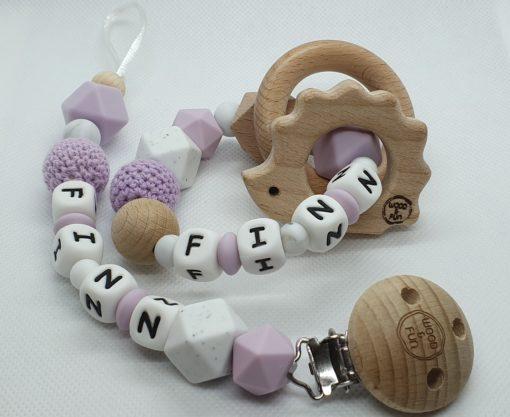 naam cadeau baby - Cadeau met naam baby - epersonaliseerd kraamcadeau - baby gift set Finn- Wood & Fun