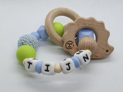 """Bijtring met naam-Bijtring naam-design """"Tijn""""-Wood & Fun"""