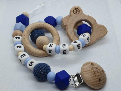 Cadeau met naam baby - epersonaliseerd kraamcadeau - baby gift set Kees - Wood & Fun