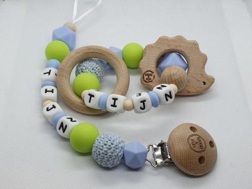 Cadeau met naam baby - epersonaliseerd kraamcadeau - baby gift set Tijn - Wood & Fun