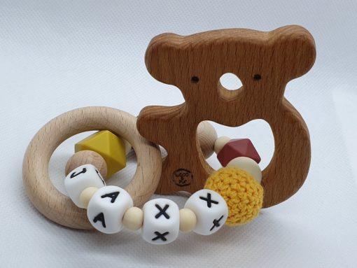 """Bijtring met naam - design """"Jaxx""""-Wood & Fun"""