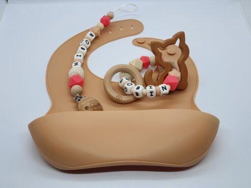 """Deluxe baby gift set met naam """"Robin"""" - Wood & Fun"""