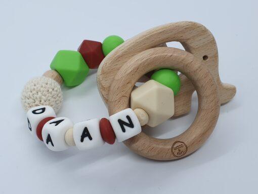 """Bijtring met naam-Bijtring naam-design """"Daan""""-Wood & Fun"""