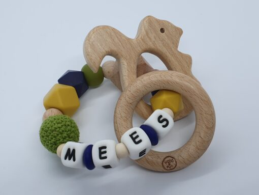 """Bijtring met naam-Bijtring naam-design """"Mees""""-Wood & Fun"""