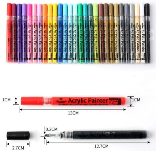 ACRYL VERFSTIFTEN SET 28 STUKS FLYSEA - Geschikt voor veel ondergronden - Verfstiften volwassenen - Acryl stiften - Acrylverf marker - Stiften - Stiften voor stenen - Acrylstiften voor stenen schilderen - Acrylverf stiften